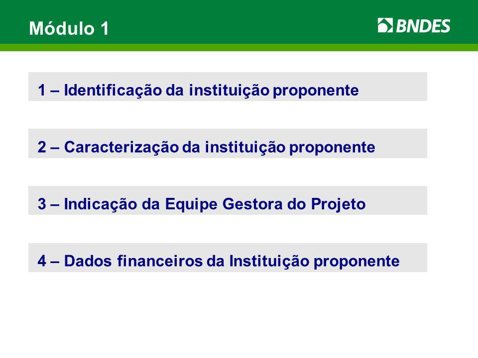 Módulo 1 1 – Identificação da instituição proponente 2 – Caracterização da instituição proponente 4 – Dados financeiros da Instituição proponente 3 –