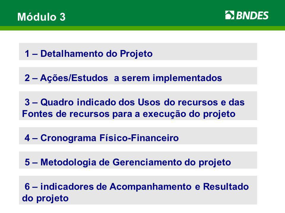 Módulo 3 1 – Detalhamento do Projeto 2 – Ações/Estudos a serem implementados 5 – Metodologia de Gerenciamento do projeto 4 – Cronograma Físico-Finance