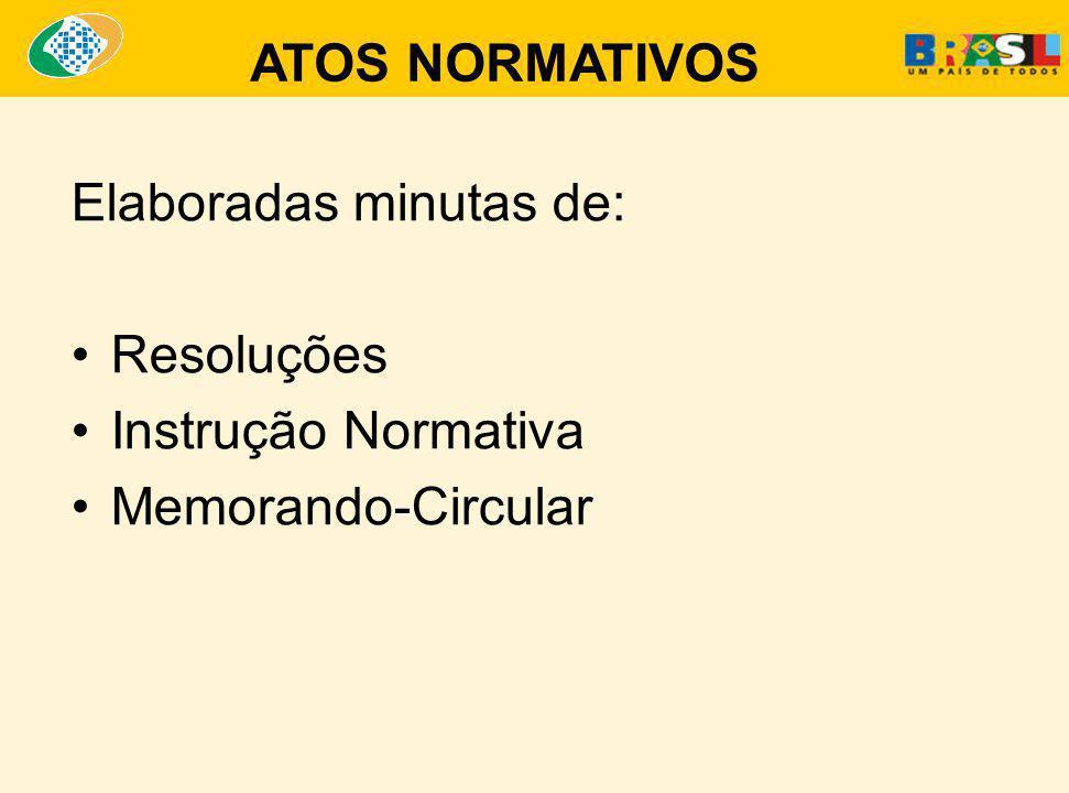 Elaboradas minutas de: Resoluções Instrução Normativa Memorando-Circular ATOS NORMATIVOS