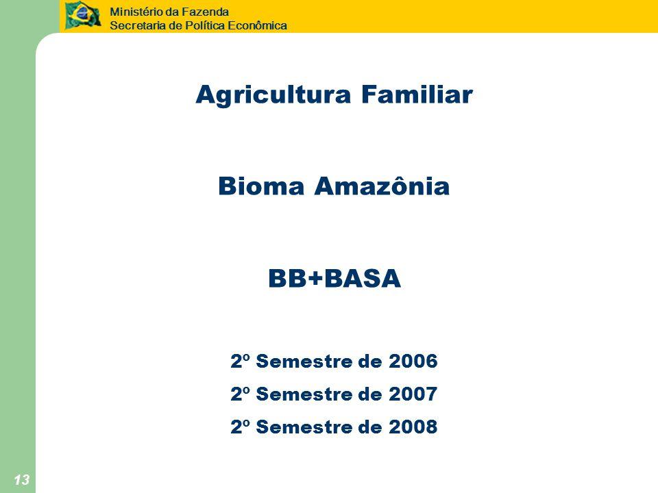 Ministério da Fazenda Secretaria de Política Econômica 13 Agricultura Familiar Bioma Amazônia BB+BASA 2º Semestre de 2006 2º Semestre de 2007 2º Semestre de 2008
