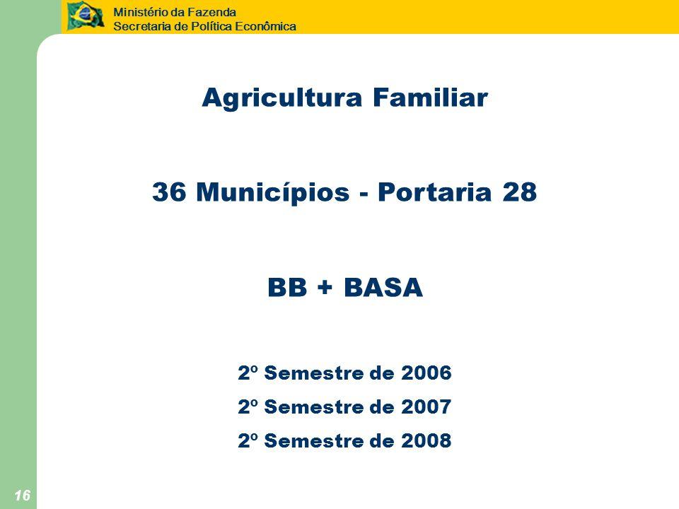 Ministério da Fazenda Secretaria de Política Econômica 16 Agricultura Familiar 36 Municípios - Portaria 28 BB + BASA 2º Semestre de 2006 2º Semestre de 2007 2º Semestre de 2008