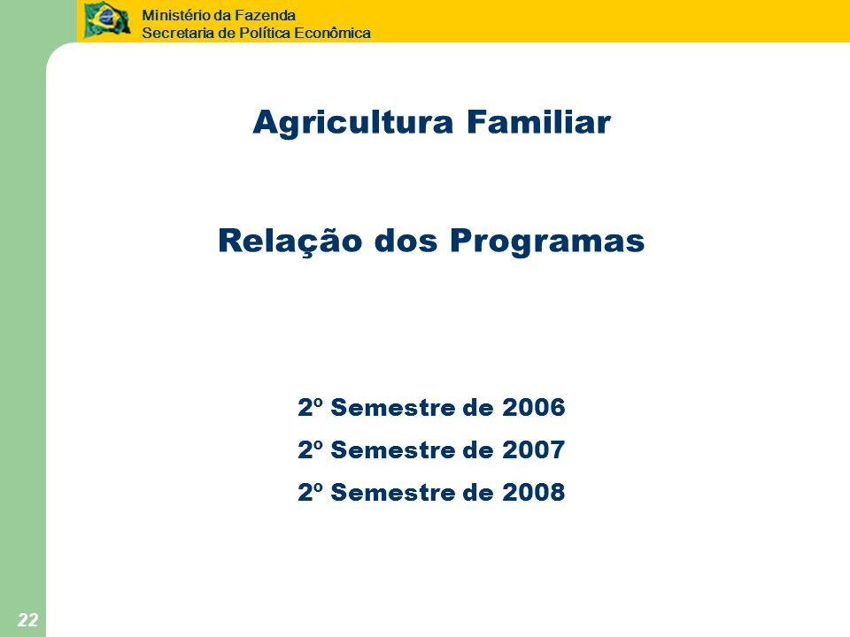 Ministério da Fazenda Secretaria de Política Econômica 22 Agricultura Familiar Relação dos Programas 2º Semestre de 2006 2º Semestre de 2007 2º Semestre de 2008
