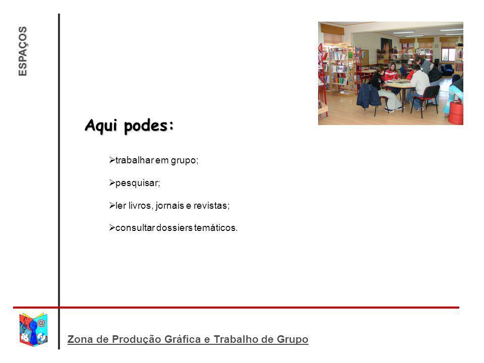 ESPAÇOS Aqui podes: trabalhar em grupo; pesquisar; ler livros, jornais e revistas; consultar dossiers temáticos.