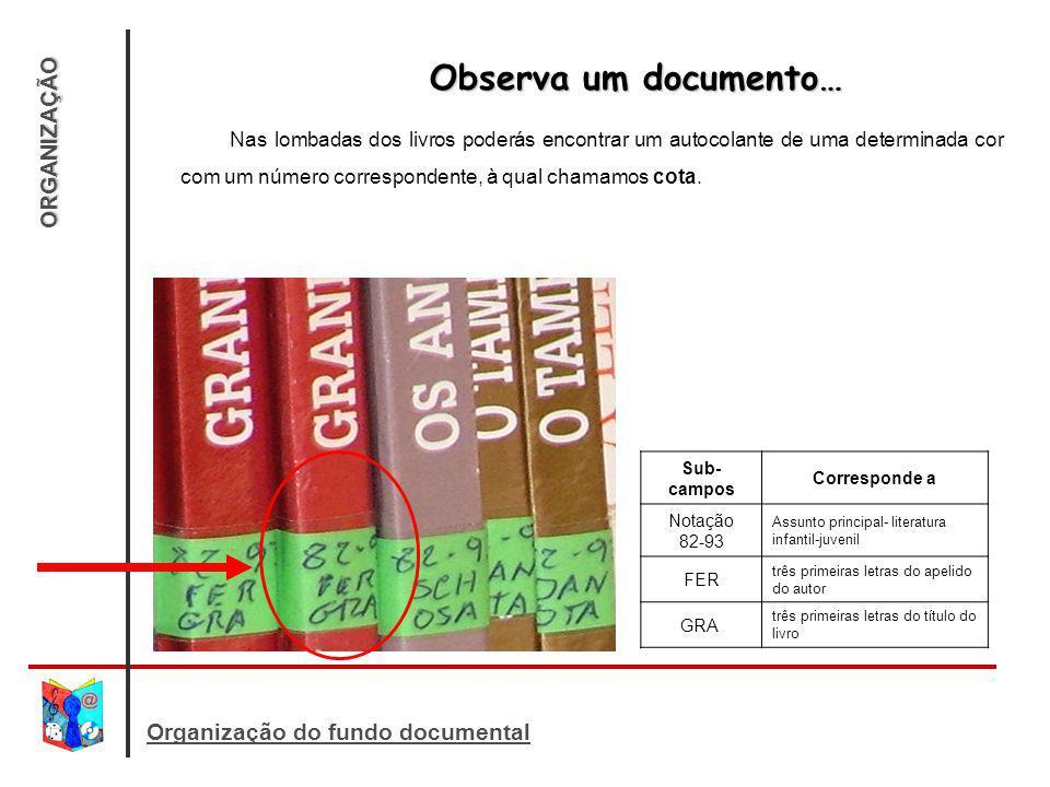 ORGANIZAÇÃO Organização do fundo documental Observa um documento… Observa um documento… Nas lombadas dos livros poderás encontrar um autocolante de uma determinada cor com um número correspondente, à qual chamamos cota.