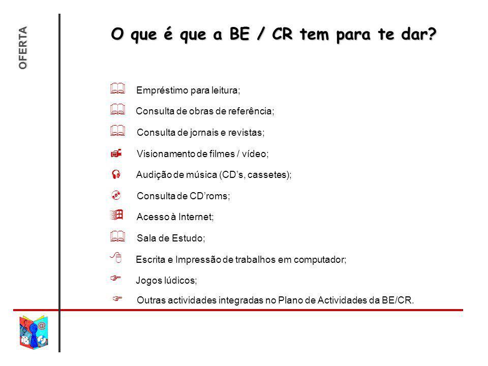O que é que a BE / CR tem para te dar? Empréstimo para leitura; Consulta de obras de referência; Consulta de jornais e revistas; Visionamento de filme