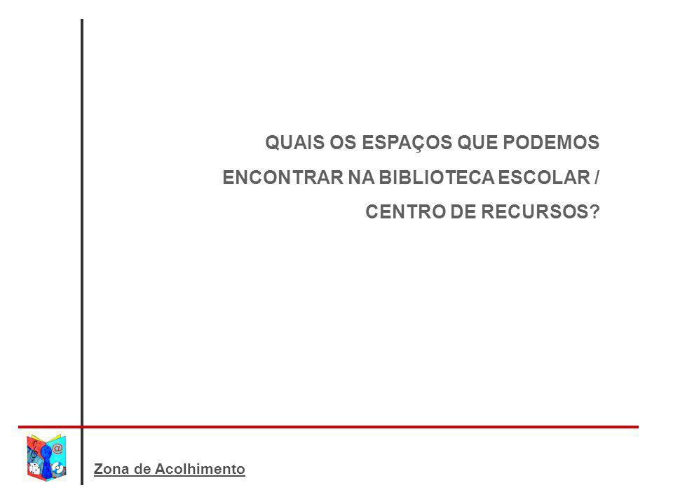 Zona de Acolhimento QUAIS OS ESPAÇOS QUE PODEMOS ENCONTRAR NA BIBLIOTECA ESCOLAR / CENTRO DE RECURSOS?