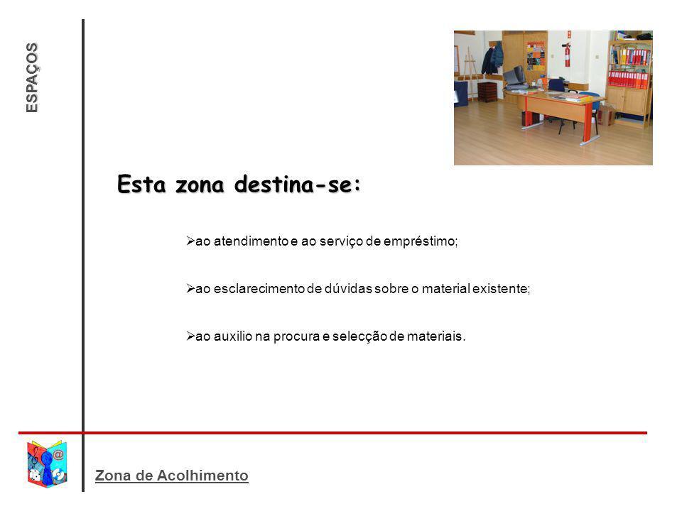 ESPAÇOS Esta zona destina-se: ao atendimento e ao serviço de empréstimo; ao esclarecimento de dúvidas sobre o material existente; ao auxilio na procur