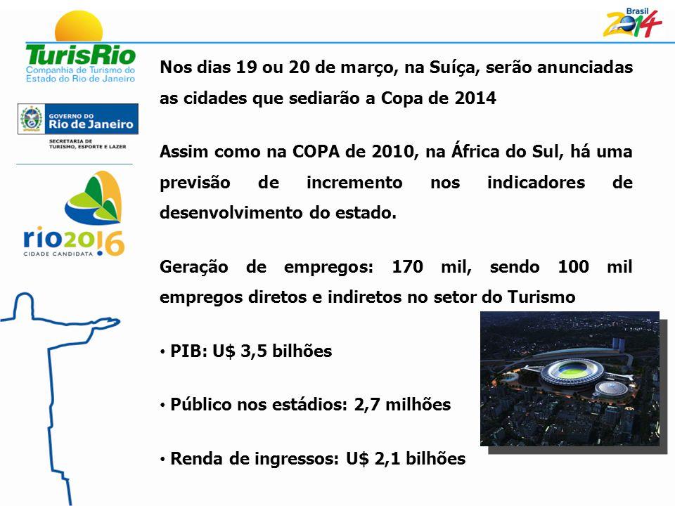 Nos dias 19 ou 20 de março, na Suíça, serão anunciadas as cidades que sediarão a Copa de 2014 Assim como na COPA de 2010, na África do Sul, há uma previsão de incremento nos indicadores de desenvolvimento do estado.