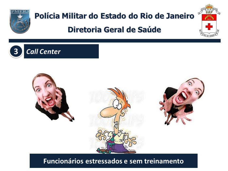 Polícia Militar do Estado do Rio de Janeiro Diretoria Geral de Saúde 3 3 Call Center Funcionários estressados e sem treinamento