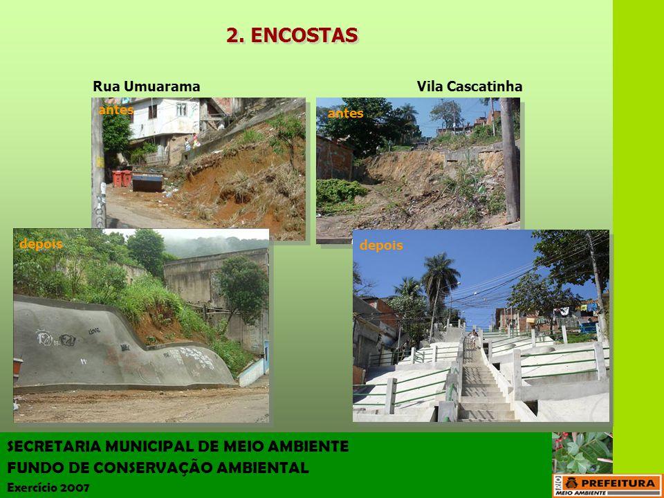 SECRETARIA MUNICIPAL DE MEIO AMBIENTE FUNDO DE CONSERVAÇÃO AMBIENTAL Exercício 2007 Vila Cascatinha antes depois antes depois Rua Umuarama 2. ENCOSTAS