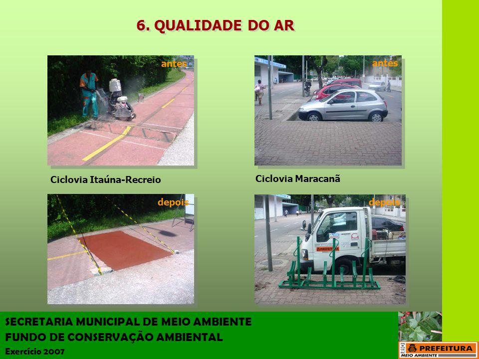 SECRETARIA MUNICIPAL DE MEIO AMBIENTE FUNDO DE CONSERVAÇÃO AMBIENTAL Exercício 2007 Ciclovia Itaúna-Recreio Ciclovia Maracanã antes depois antes depoi