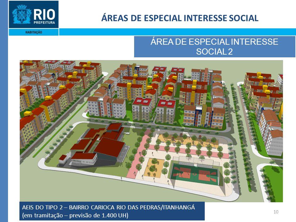 10 ÁREAS DE ESPECIAL INTERESSE SOCIAL ÁREA DE ESPECIAL INTERESSE SOCIAL 2 AEIS DO TIPO 2 – BAIRRO CARIOCA RIO DAS PEDRAS/ITANHANGÁ (em tramitação – previsão de 1.400 UH)