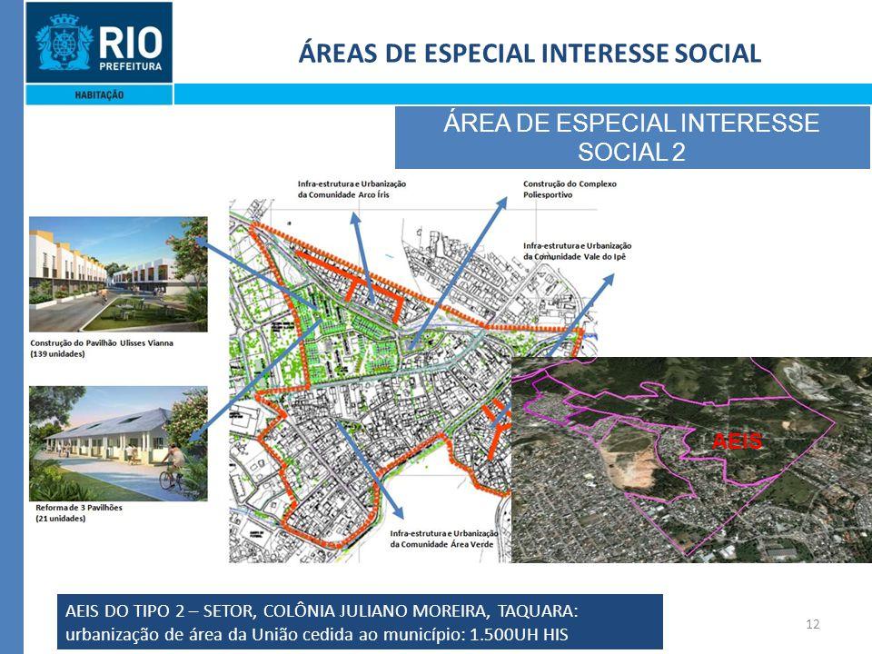 12 ÁREAS DE ESPECIAL INTERESSE SOCIAL ÁREA DE ESPECIAL INTERESSE SOCIAL 2 AEIS DO TIPO 2 – SETOR, COLÔNIA JULIANO MOREIRA, TAQUARA: urbanização de área da União cedida ao município: 1.500UH HIS AEIS