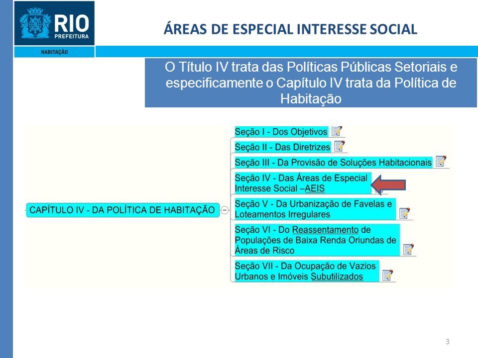 3 ÁREAS DE ESPECIAL INTERESSE SOCIAL O Título IV trata das Políticas Públicas Setoriais e especificamente o Capítulo IV trata da Política de Habitação
