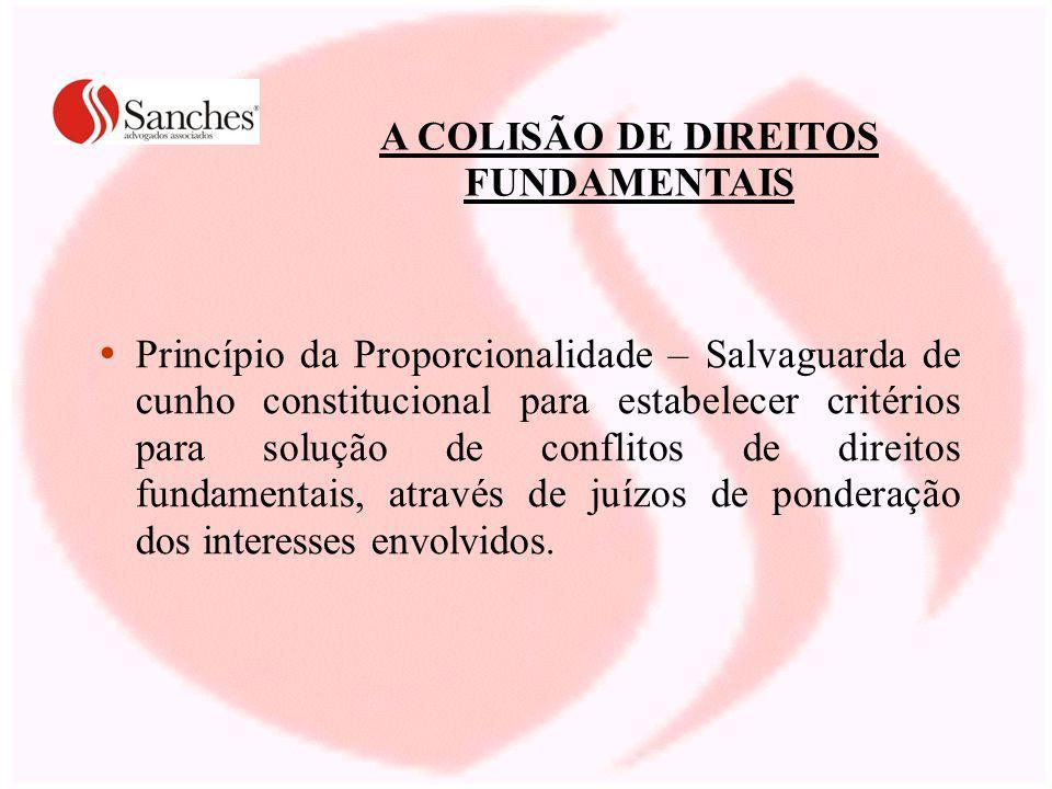 A COLISÃO DE DIREITOS FUNDAMENTAIS Princípio da Proporcionalidade – Salvaguarda de cunho constitucional para estabelecer critérios para solução de conflitos de direitos fundamentais, através de juízos de ponderação dos interesses envolvidos.
