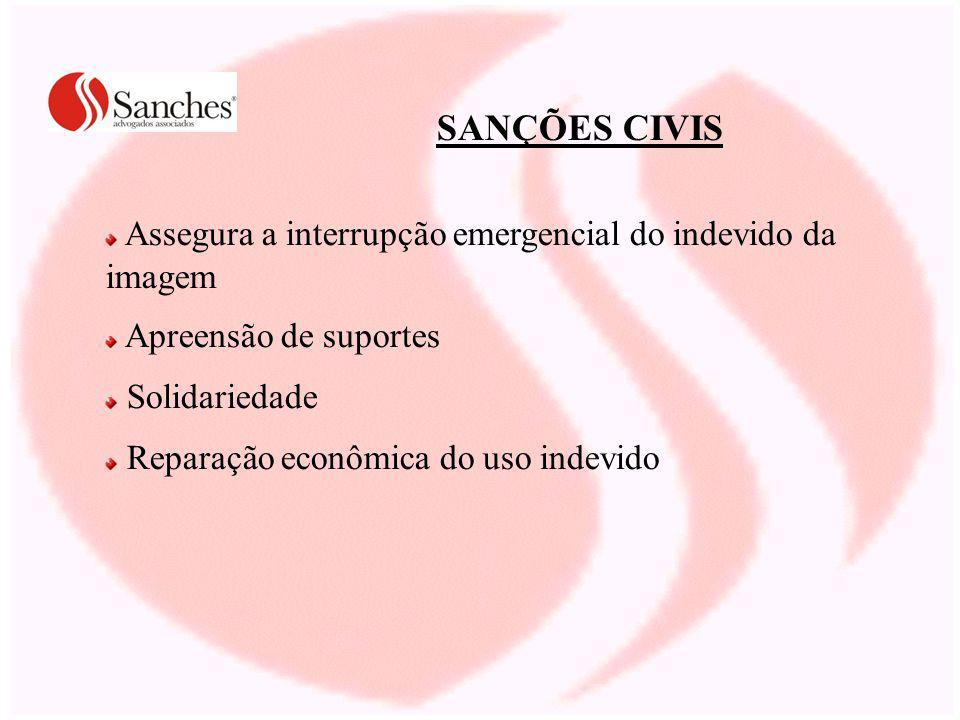 Assegura a interrupção emergencial do indevido da imagem Apreensão de suportes Solidariedade Reparação econômica do uso indevido SANÇÕES CIVIS