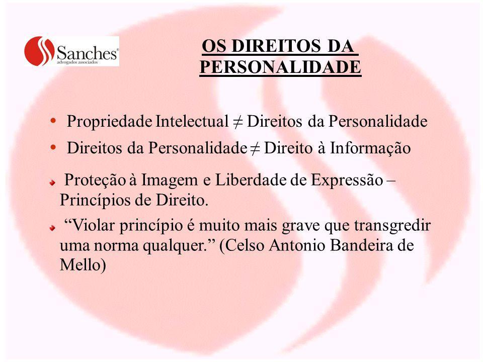 OS DIREITOS DA PERSONALIDADE Propriedade Intelectual Direitos da Personalidade Direitos da Personalidade Direito à Informação Proteção à Imagem e Libe