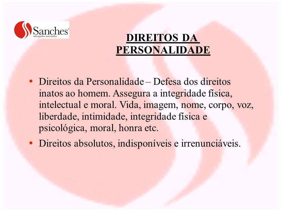 DIREITOS DA PERSONALIDADE Direitos da Personalidade – Defesa dos direitos inatos ao homem.