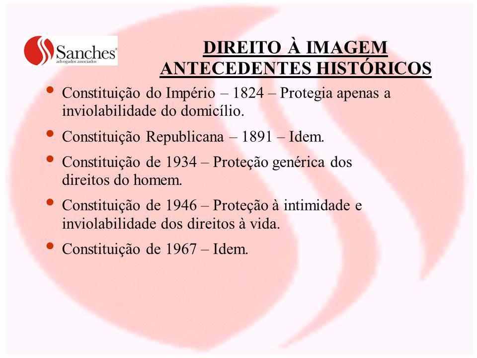 DIREITO À IMAGEM ANTECEDENTES HISTÓRICOS Constituição do Império – 1824 – Protegia apenas a inviolabilidade do domicílio.