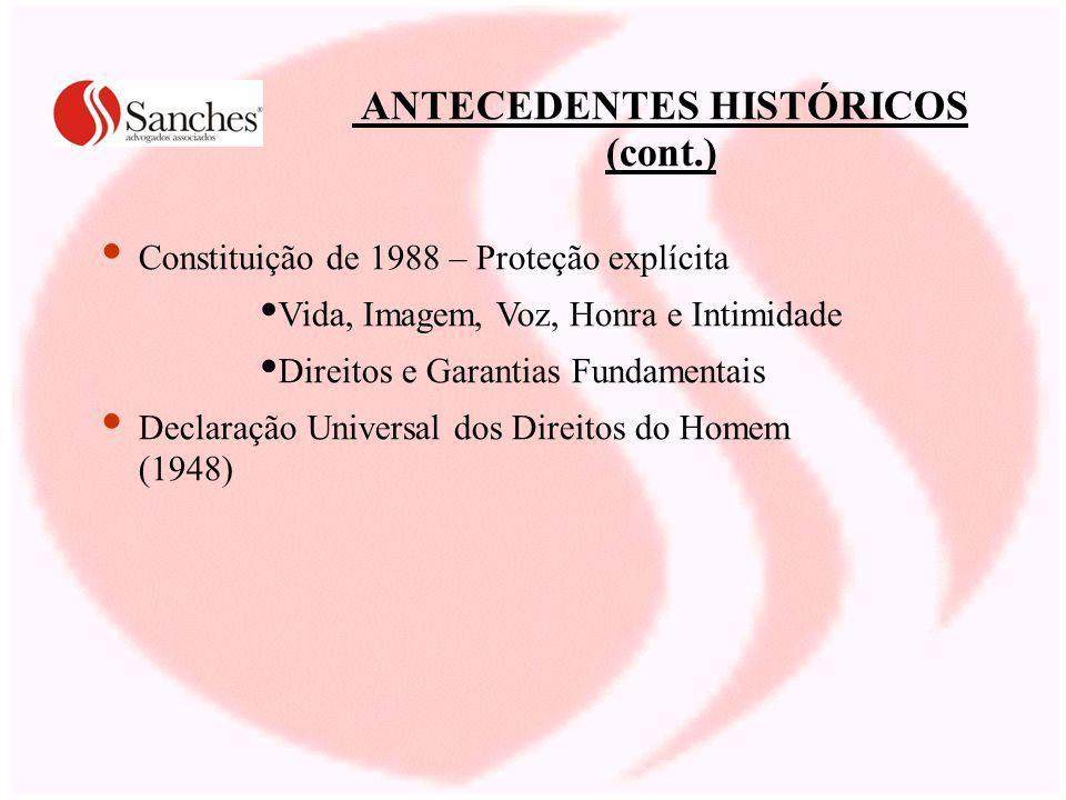 ANTECEDENTES HISTÓRICOS (cont.) Constituição de 1988 – Proteção explícita Vida, Imagem, Voz, Honra e Intimidade Direitos e Garantias Fundamentais Declaração Universal dos Direitos do Homem (1948)