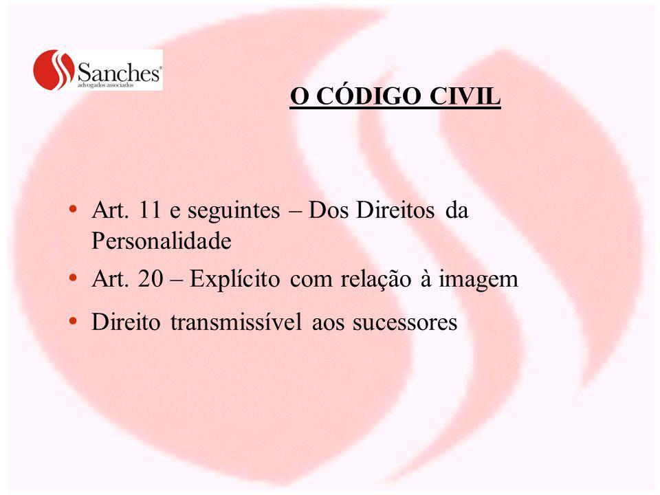 O CÓDIGO CIVIL Art. 11 e seguintes – Dos Direitos da Personalidade Art. 20 – Explícito com relação à imagem Direito transmissível aos sucessores