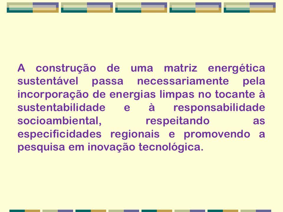 A construção de uma matriz energética sustentável passa necessariamente pela incorporação de energias limpas no tocante à sustentabilidade e à responsabilidade socioambiental, respeitando as especificidades regionais e promovendo a pesquisa em inovação tecnológica.