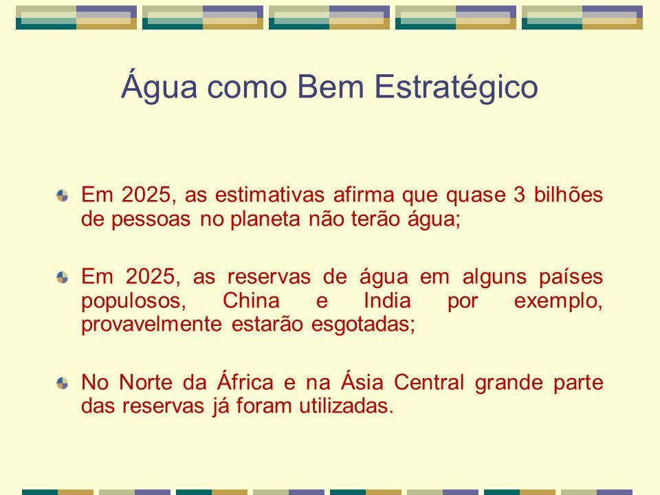 Água como Bem Estratégico Em 2025, as estimativas afirma que quase 3 bilhões de pessoas no planeta não terão água; Em 2025, as reservas de água em alguns países populosos, China e India por exemplo, provavelmente estarão esgotadas; No Norte da África e na Ásia Central grande parte das reservas já foram utilizadas.