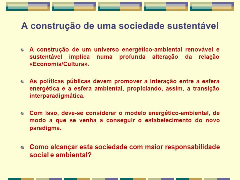 A construção de um universo energético-ambiental renovável e sustentável implica numa profunda alteração da relação «Economia/Cultura».