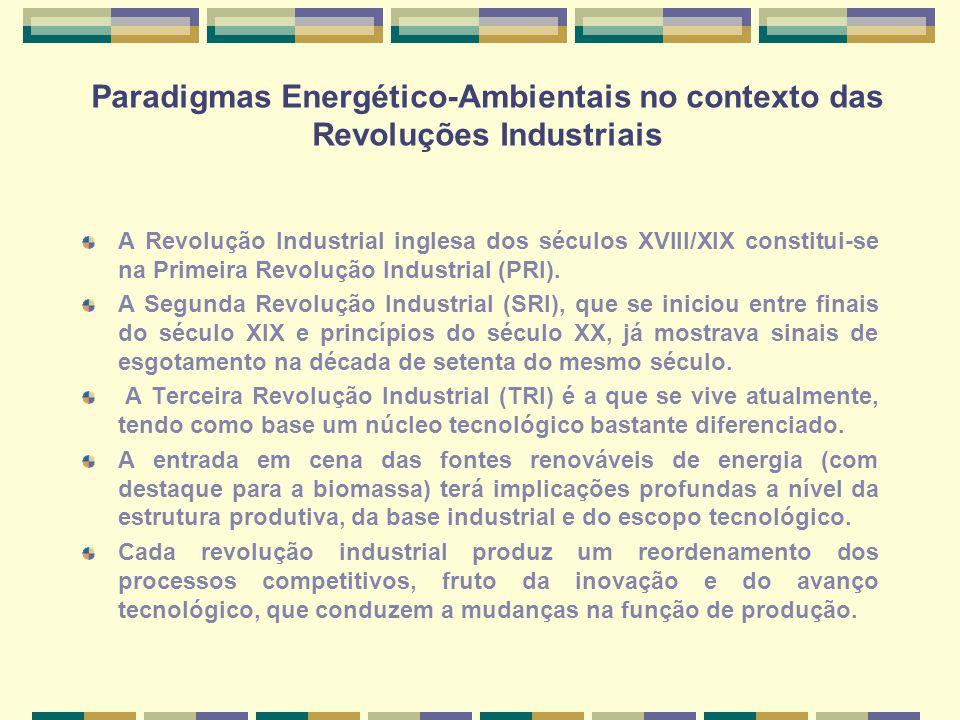 Paradigmas Energético-Ambientais no contexto das Revoluções Industriais A Revolução Industrial inglesa dos séculos XVIII/XIX constitui-se na Primeira Revolução Industrial (PRI).