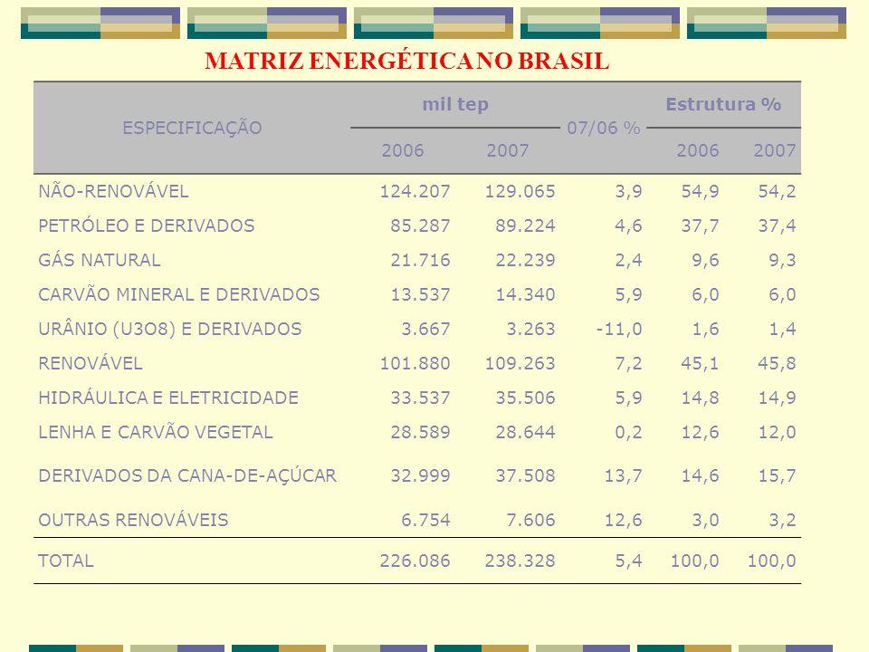 ESPECIFICAÇÃO mil tep 07/06 % Estrutura % 2006200720062007 NÃO-RENOVÁVEL124.207129.0653,954,954,2 PETRÓLEO E DERIVADOS85.28789.2244,637,737,4 GÁS NATURAL21.71622.2392,49,69,3 CARVÃO MINERAL E DERIVADOS13.53714.3405,96,0 URÂNIO (U3O8) E DERIVADOS3.6673.263-11,01,61,4 RENOVÁVEL101.880109.2637,245,145,8 HIDRÁULICA E ELETRICIDADE33.53735.5065,914,814,9 LENHA E CARVÃO VEGETAL28.58928.6440,212,612,0 DERIVADOS DA CANA-DE-AÇÚCAR32.99937.50813,714,615,7 OUTRAS RENOVÁVEIS6.7547.60612,63,03,2 TOTAL226.086238.3285,4100,0 MATRIZ ENERGÉTICA NO BRASIL