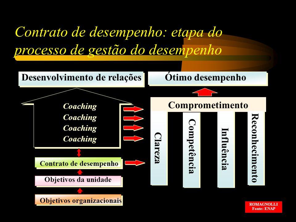 Contrato de desempenho: etapa do processo de gestão do desempenho Desenvolvimento de relaçõesÓtimo desempenho Coaching Comprometimento Competência Contrato de desempenho Objetivos da unidade Objetivos organizacionais Clareza Reconhecimento Influência ROMAGNOLLI Fonte: ENAP