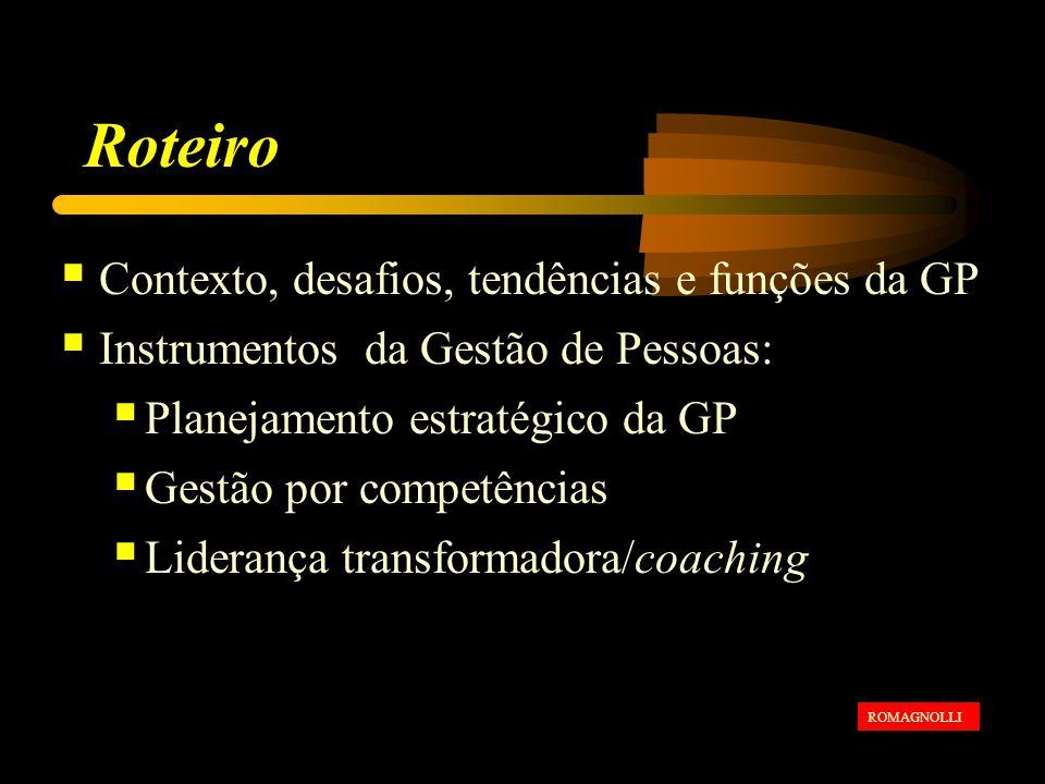 Roteiro Contexto, desafios, tendências e funções da GP Instrumentos da Gestão de Pessoas: Planejamento estratégico da GP Gestão por competências Liderança transformadora/coaching ROMAGNOLLI