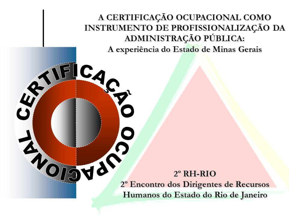A CERTIFICAÇÃO OCUPACIONAL COMO INSTRUMENTO DE PROFISSIONALIZAÇÃO DA ADMINISTRAÇÃO PÚBLICA: A experiência do Estado de Minas Gerais A CERTIFICAÇÃO OCU
