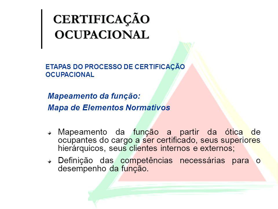 Mapeamento da função: Mapa de Elementos Normativos Mapeamento da função a partir da ótica de ocupantes do cargo a ser certificado, seus superiores hie