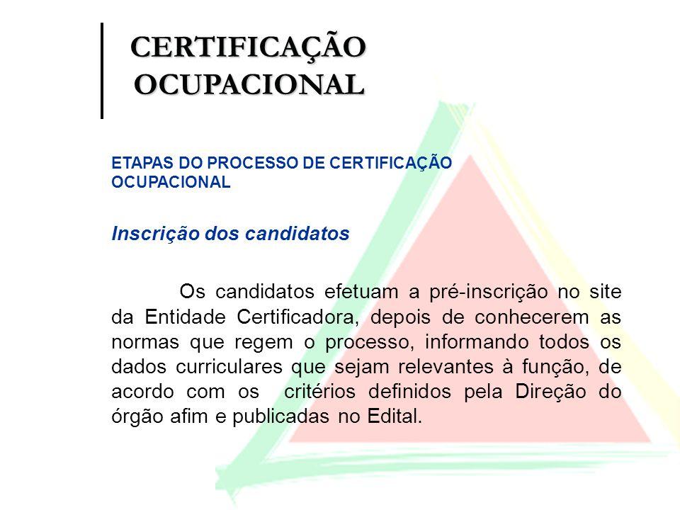 Inscrição dos candidatos Os candidatos efetuam a pré-inscrição no site da Entidade Certificadora, depois de conhecerem as normas que regem o processo,