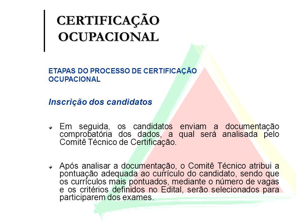 Inscrição dos candidatos Em seguida, os candidatos enviam a documentação comprobatória dos dados, a qual será analisada pelo Comitê Técnico de Certifi
