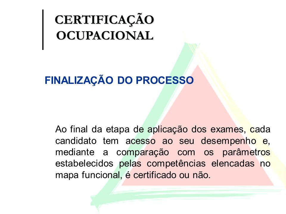 FINALIZAÇÃO DO PROCESSO Ao final da etapa de aplicação dos exames, cada candidato tem acesso ao seu desempenho e, mediante a comparação com os parâmet