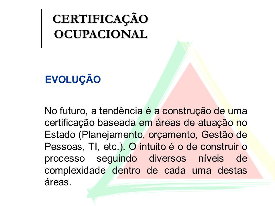 No futuro, a tendência é a construção de uma certificação baseada em áreas de atuação no Estado (Planejamento, orçamento, Gestão de Pessoas, TI, etc.)