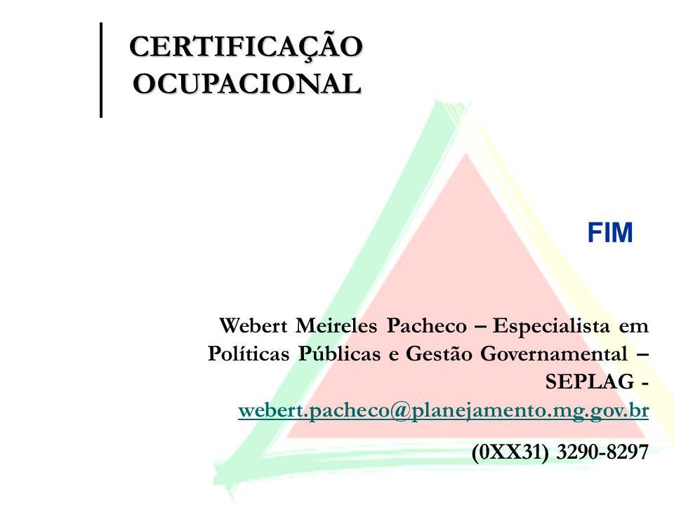 FIM Webert Meireles Pacheco – Especialista em Políticas Públicas e Gestão Governamental – SEPLAG - webert.pacheco@planejamento.mg.gov.br webert.pachec