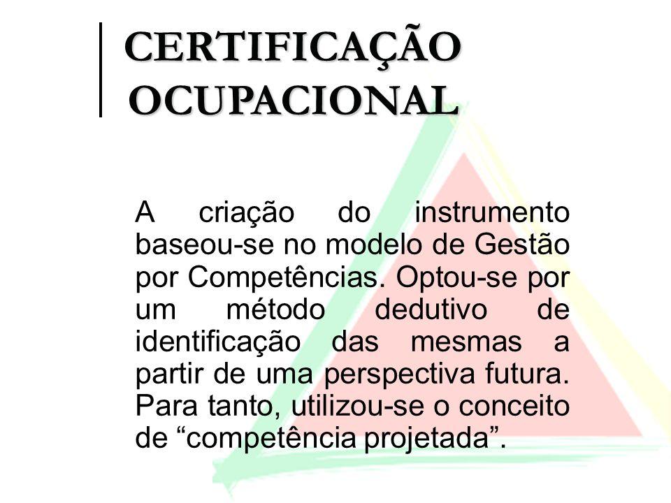 A criação do instrumento baseou-se no modelo de Gestão por Competências. Optou-se por um método dedutivo de identificação das mesmas a partir de uma p