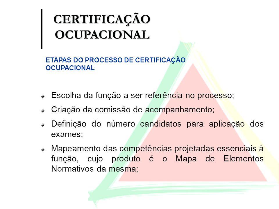 Escolha da função a ser referência no processo; Criação da comissão de acompanhamento; Definição do número candidatos para aplicação dos exames; Mapea