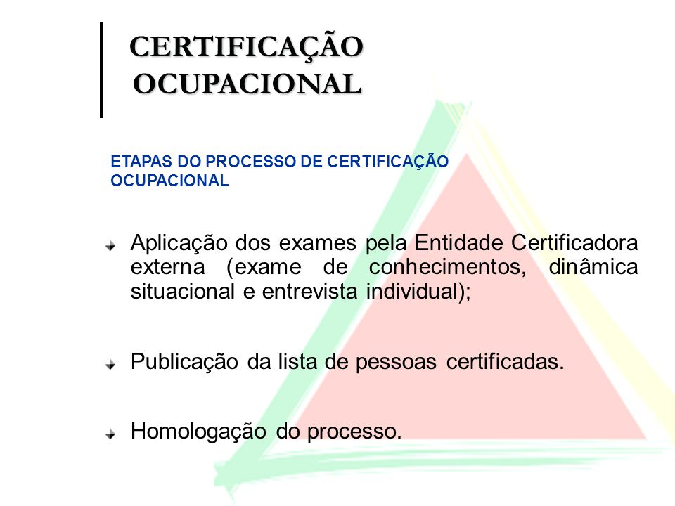 Aplicação dos exames pela Entidade Certificadora externa (exame de conhecimentos, dinâmica situacional e entrevista individual); Publicação da lista d