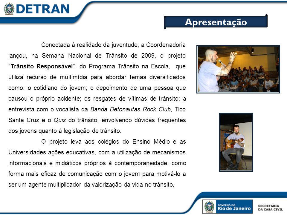 Conectada à realidade da juventude, a Coordenadoria lançou, na Semana Nacional de Trânsito de 2009, o projetoTrânsito Responsável, do Programa Trânsit