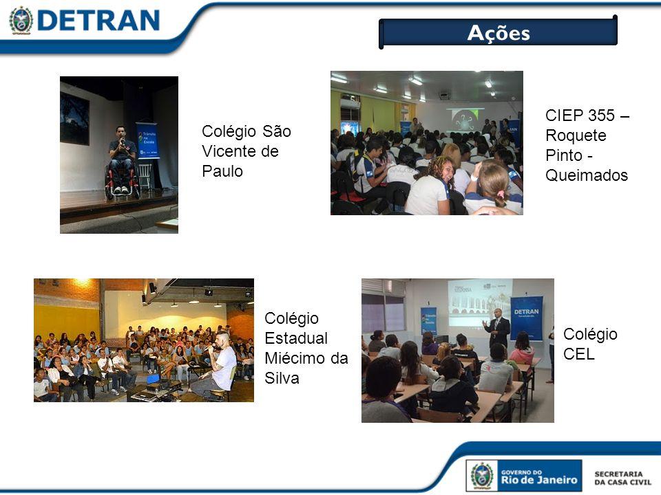 Ações Colégio São Vicente de Paulo Colégio CEL CIEP 355 – Roquete Pinto - Queimados Colégio Estadual Miécimo da Silva