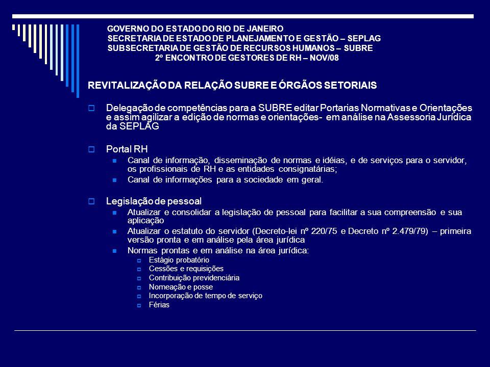 GOVERNO DO ESTADO DO RIO DE JANEIRO SECRETARIA DE ESTADO DE PLANEJAMENTO E GESTÃO – SEPLAG SUBSECRETARIA DE GESTÃO DE RECURSOS HUMANOS – SUBRE 2º ENCONTRO DE GESTORES DE RH – NOV/08 REVITALIZAÇÃO DA RELAÇÃO SUBRE E ÓRGÃOS SETORIAIS Delegação de competências para a SUBRE editar Portarias Normativas e Orientações e assim agilizar a edição de normas e orientações- em análise na Assessoria Jurídica da SEPLAG Portal RH Canal de informação, disseminação de normas e idéias, e de serviços para o servidor, os profissionais de RH e as entidades consignatárias; Canal de informações para a sociedade em geral.