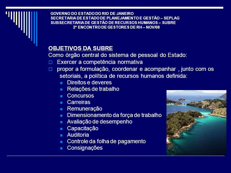 GOVERNO DO ESTADO DO RIO DE JANEIRO SECRETARIA DE ESTADO DE PLANEJAMENTO E GESTÃO – SEPLAG SUBSECRETARIA DE GESTÃO DE RECURSOS HUMANOS – SUBRE 2º ENCO