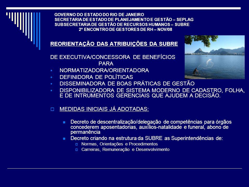 GOVERNO DO ESTADO DO RIO DE JANEIRO SECRETARIA DE ESTADO DE PLANEJAMENTO E GESTÃO – SEPLAG SUBSECRETARIA DE GESTÃO DE RECURSOS HUMANOS – SUBRE 2º ENCONTRO DE GESTORES DE RH – NOV/08 REORIENTAÇÃO DAS ATRIBUIÇÕES DA SUBRE DE EXECUTIVA/CONCESSORA DE BENEFÍCIOS PARA NORMATIZADORA/ORIENTADORA DEFINIDORA DE POLÍTICAS DISSEMINADORA DE BOAS PRÁTICAS DE GESTÃO DISPONIBILIZADORA DE SISTEMA MODERNO DE CADASTRO, FOLHA, E DE INTRUMENTOS GERENCIAIS QUE AJUDEM A DECISÃO.