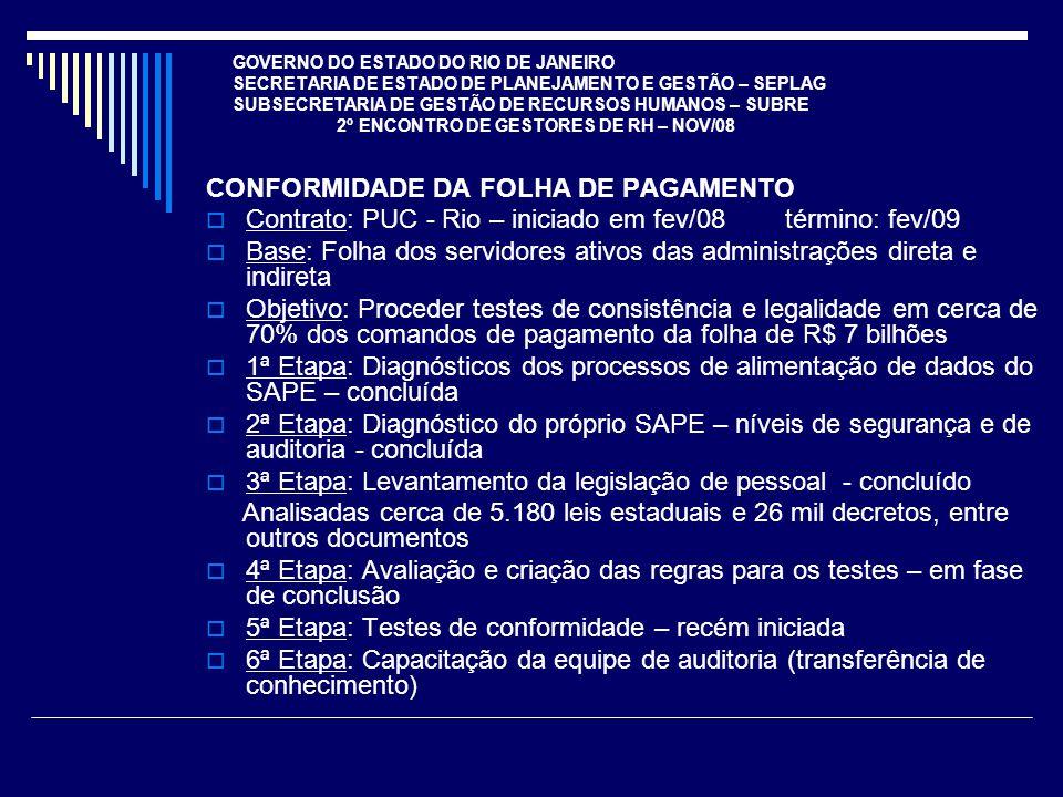 GOVERNO DO ESTADO DO RIO DE JANEIRO SECRETARIA DE ESTADO DE PLANEJAMENTO E GESTÃO – SEPLAG SUBSECRETARIA DE GESTÃO DE RECURSOS HUMANOS – SUBRE 2º ENCONTRO DE GESTORES DE RH – NOV/08 CONFORMIDADE DA FOLHA DE PAGAMENTO Contrato: PUC - Rio – iniciado em fev/08 término: fev/09 Base: Folha dos servidores ativos das administrações direta e indireta Objetivo: Proceder testes de consistência e legalidade em cerca de 70% dos comandos de pagamento da folha de R$ 7 bilhões 1ª Etapa: Diagnósticos dos processos de alimentação de dados do SAPE – concluída 2ª Etapa: Diagnóstico do próprio SAPE – níveis de segurança e de auditoria - concluída 3ª Etapa: Levantamento da legislação de pessoal - concluído Analisadas cerca de 5.180 leis estaduais e 26 mil decretos, entre outros documentos 4ª Etapa: Avaliação e criação das regras para os testes – em fase de conclusão 5ª Etapa: Testes de conformidade – recém iniciada 6ª Etapa: Capacitação da equipe de auditoria (transferência de conhecimento)