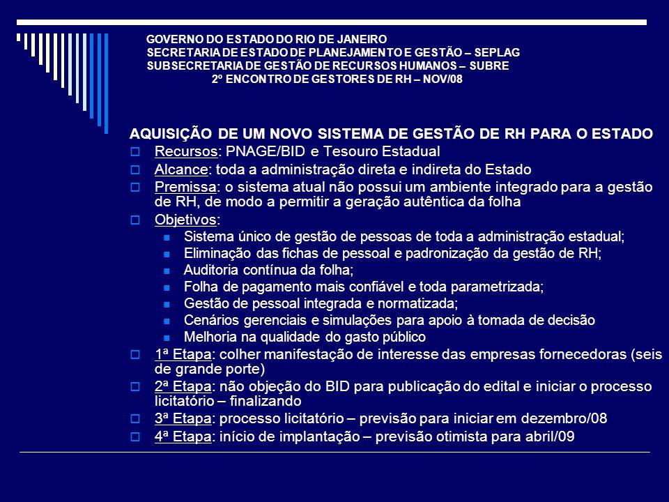GOVERNO DO ESTADO DO RIO DE JANEIRO SECRETARIA DE ESTADO DE PLANEJAMENTO E GESTÃO – SEPLAG SUBSECRETARIA DE GESTÃO DE RECURSOS HUMANOS – SUBRE 2º ENCONTRO DE GESTORES DE RH – NOV/08 AQUISIÇÃO DE UM NOVO SISTEMA DE GESTÃO DE RH PARA O ESTADO Recursos: PNAGE/BID e Tesouro Estadual Alcance: toda a administração direta e indireta do Estado Premissa: o sistema atual não possui um ambiente integrado para a gestão de RH, de modo a permitir a geração autêntica da folha Objetivos: Sistema único de gestão de pessoas de toda a administração estadual; Eliminação das fichas de pessoal e padronização da gestão de RH; Auditoria contínua da folha; Folha de pagamento mais confiável e toda parametrizada; Gestão de pessoal integrada e normatizada; Cenários gerenciais e simulações para apoio à tomada de decisão Melhoria na qualidade do gasto público 1ª Etapa: colher manifestação de interesse das empresas fornecedoras (seis de grande porte) 2ª Etapa: não objeção do BID para publicação do edital e iniciar o processo licitatório – finalizando 3ª Etapa: processo licitatório – previsão para iniciar em dezembro/08 4ª Etapa: início de implantação – previsão otimista para abril/09
