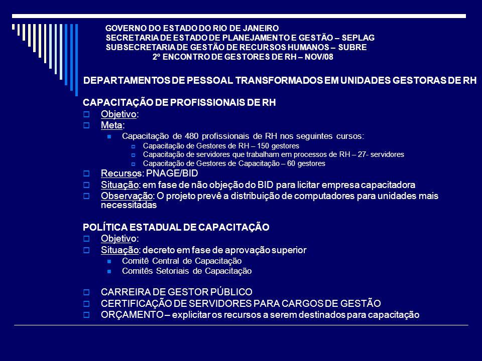 GOVERNO DO ESTADO DO RIO DE JANEIRO SECRETARIA DE ESTADO DE PLANEJAMENTO E GESTÃO – SEPLAG SUBSECRETARIA DE GESTÃO DE RECURSOS HUMANOS – SUBRE 2º ENCONTRO DE GESTORES DE RH – NOV/08 DEFINIÇÃO DE POLÍTICAS DE RH Objetivo: Definir e disseminar premissas para a criação ou reestruturação de carreiras e remuneração (desempenho, capacitação, gratificações, titularidade, mercado, nível superior, nível médio técnico, impactos fiscais, aposentados e pensionistas, etc); Definir e disseminar premissas para recomposição da força de trabalho (concursos, temporários, cargos em comissão, atividades de Estado, atividades terceirizáveis, reprocesso de trabalho, etc).